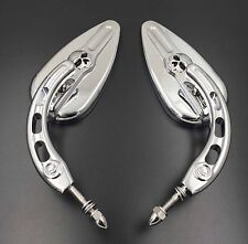 Chrome Skull Side Mirrors For Harley Davidson 1982-later all models