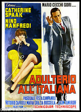ADULTERIO ALL'ITALIANA MANIFESTO CINEMA SPAAK MANFREDI ITA 1966 MOVIE POSTER 4F