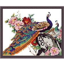 Acrylic Painting by Numbers kit The Peacock and Peonies Flowers Bird DIY QT7005