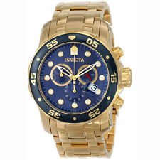 Invicta 0073 Men's Pro Diver Gold Tone Stainless Steel Blue Dial Chronograph Wat