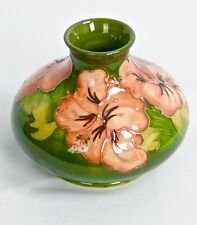 "MOORCROFT 4 1/4"" HIBISCUS & LEAVES DOUBLE MARKED ROUND VASE c1920s VINTAGE"