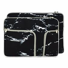 "13-Inch Marble Black Handy Zipper Sleeve w./Pockets for All 13"" Laptop / Macbook"