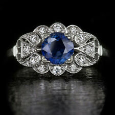 VINTAGE COCKTAIL NATURAL CORNFLOWER BLUE SAPPHIRE DIAMONDS ART DECO RING FLOWER