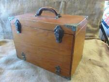 Vintage Wood & Brass Fishing Tackle Box   Old Antique Fish Equipment Gear 9710