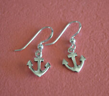 925 Sterling Silver Small Nautical Anchor Dangle Earrings Jewelry