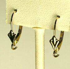 Solid 14K yellow gold Fleur-de-Lis leverback earrings finding 0.6 gram