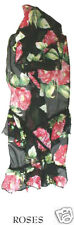 Mary Frances Pink Roses Black Pink Green Floral Embellished Beaded Scarf New
