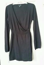 H&M Wool Blend Tunic Faux Wrap Solid Black Deep V Surplice Neckline Size S