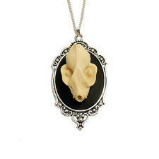 Bat skull necklace gothic goth silver vegan taxidermy steampunk vampire dracula
