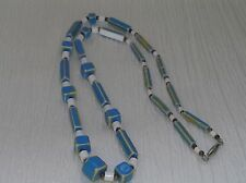 Vintage Colonial Blue with White & Blue Plastic Cube Cylinder Bead Necklace –