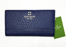 kate spade Southport Avenue Stacy Wallet Pebbled Holiday Blue Leather WLRU1394
