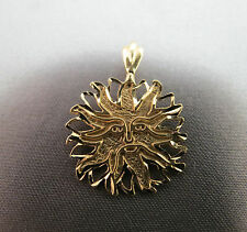 14k Yellow Gold Michael Anthony MA Solid Pendant Tree Face Sun 1.8g Diamond Cut