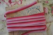 1y PINK OMBRE RIBBONWORK PICOT MILLINERY ROSETTE FLOWER RIBBON VINTAGE DOLL TRIM