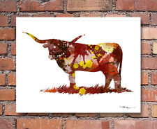 Longhorn Cow Abstract Watercolor Painting Art Print by Artist DJ Rogers