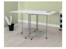 Crafting Desk Sewing Machine Table Folding Wheels White Office Furniture Singer