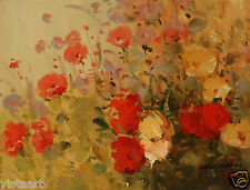 "Oil Painting On Canvas 12""x 16"" ~  Red and Yellow Poppies"