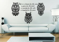 Owl Wall Decals Quote Life Is A Vinyl Sticker Nursery Home Decor Animal Art MS4