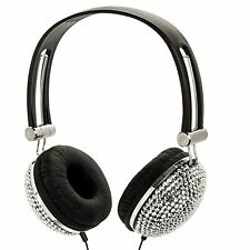 Silver Crystal Rhinestone Bling Dj Over-ear Headphones New