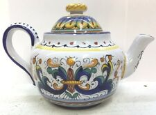 Deruta Pottery-1/4Liter Tea Pot-Ricco Deruta Made/Painted by hand Italy