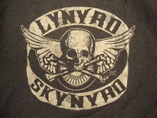 Lynyrd Skynyrd Classic Rock Band Skull and Crossbones Wings Dark Gray T Shirt M