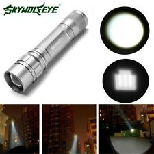 New Cree XM-L T6 8000Lumens 3 Modes Zoomable 18650 Silver Flashlight Torch Lamp