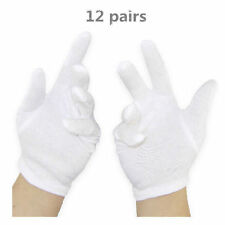 Brand new Soft White Lightweight Cotton Gloves, One Size, Pack of 12 Pairs