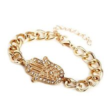 Beautiful Gold Plated Crystal Hamsa Hand Bracelet - Imitation Diamond - Fatima