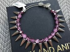 NWT ALEX and ANI Violet SPIKE of CREATIVITY BEADED BANGLE Silver BRACELET