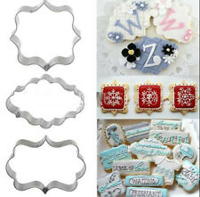 Rectangle Fancy Stainless Mold 3pcs Plaque Cutter Cookies Frame Cake Oval Square