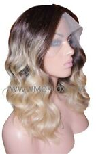 "Remy Human Hair Wig Full Lace 16"" Long Wavy Dark Brown 3 Blonde 60 Ombre Roots"