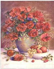 "Dufex Foil Picture Print - Poppies in Delft Vase - 8"" x 10"" size picture"