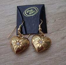 Schöne Ohrringe goldfarben Herz mit Stein neu