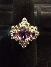VINTAGE STERLING SILVER AMETHYST RING SIZE 7
