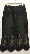 NWT Womens Clothes Ladies Long Black Stretch Denim embroidered Skirt Size 40 3X
