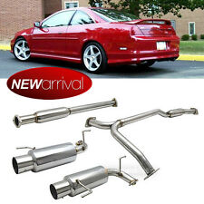 "Fit 98-02 Accord V6 3.0L 4"" Tip Stainless Steel Full Catback System Dual Exhaust"