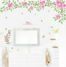 Pink Rose Flower Green Leaf Vine Wall Sticker Decal Sticker Wall Art Home Decor