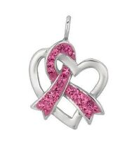 Sterling Silver Crystal Pink Ribbon Breast Cancer Awareness Heart Charm 1""