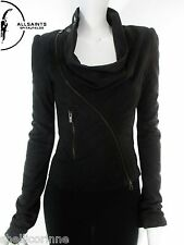 STUNNING WOMENS ALL SAINTS DRESDEN LEATHER JACKET DRAPED BIKER BLACK 8 £350 VGC