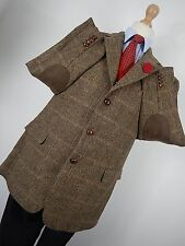 "Vtg Mario Barutti Mens Brown Harris Tweed Country Hacking Jacket Blazer 44"" R"