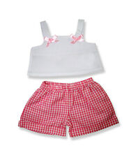 "Pink Gingham Check Shorts & top with bows Teddy Clothes to fit 15"" build a bear"