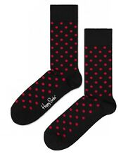 PRICED TO CLEAR! Happy Mens Pair Polka Dot Cotton Socks Black Red UK 7½-11½