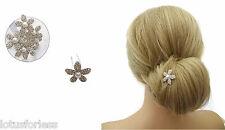 2 x Diamante Fermaglio per capelli DOS verso l'alto grip Flower Design Finta Perla