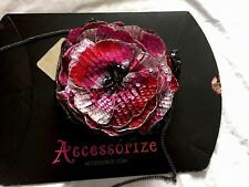 BNWT ACCESSORIZE @ MONSOON OVERSIZE ROSE BLACK SEQUIN X BODY EVENING BAG!