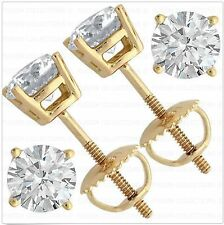 1 Ct Round Earring Studs 14K Yellow Gold Brilliant Cut Screw Back Basket