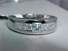 MENS PRINCESS CUTS 925 SOLID STERLING SILVER 2 CT CUBIC ZERCONIA RING SIZE 12