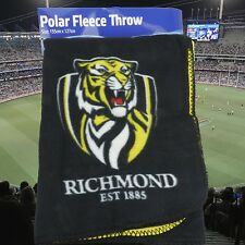 Official AFL RICHMOND TIGERS Polar Fleece THROW RUG - Bed Picnic Blanket