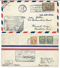 Canada FFC Lot of 2 1929 Opening of Hamilton & Kingston Airport - 161 Coil Pair*