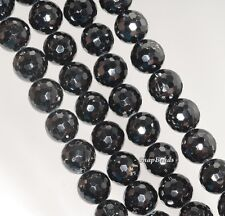 12MM BLACK TOURMALINE GEMSTONE GRADE A FACETED ROUND LOOSE BEADS 7.5""