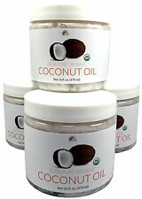 LOT OF 4 RAW 100% ORGANIC EXTRA VIRGIN COCONUT OIL PURE 64 oz FREE SHIPPING