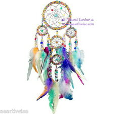 DREAMCATCHER CHAKRAS RAINBOW BEADED Wicca Pagan Witch Goth Ritual DREAM CATCHER